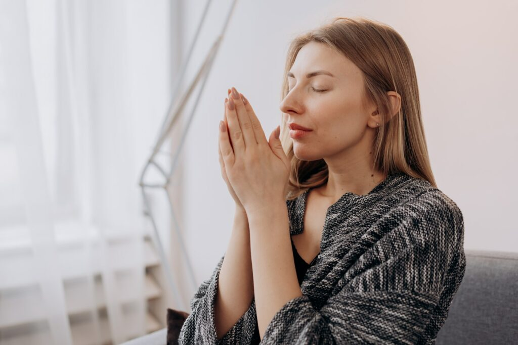 Woman Meditating in Close-up